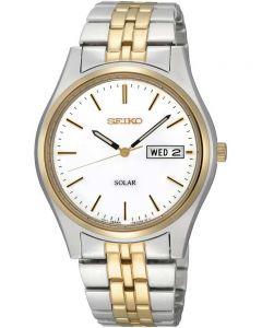 Seiko Mens Discover More Solar Two Tone Bracelet Watch SNE032P1