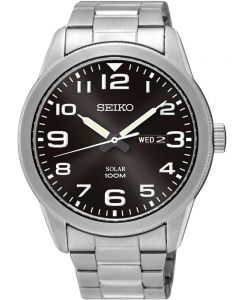 Seiko Mens Discover More Solar Black Bracelet Watch SNE471P1