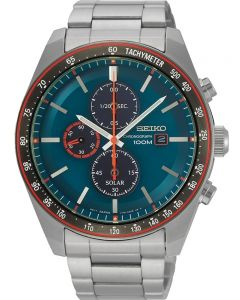 Seiko Mens Discover More Solar Chronograph Blue Bracelet Watch SSC717P1