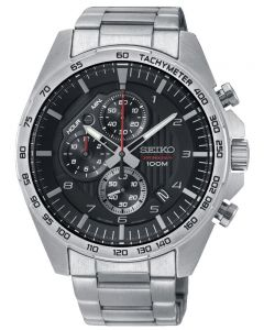 Seiko Mens Discover More Quartz Black Chronograph Bracelet Watch SSB319P1