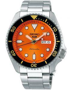 Seiko Mens 5 Sports Automatic Orange Bracelet Watch SRPD59K1