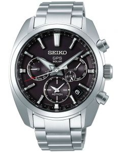 Seiko Mens Astron GPS Solar Black Chronograph Dial Stainless Steel Bracelet Watch SSH021J1