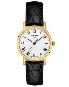 Tissot Ladies T-Classic Everytime Small Gold Plated White Dial Black Leather Strap Watch T109.210.36.033.00