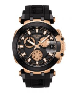 Tissot Mens T-Race Chronograph Rose Gold Plated Black Rubber Strap Watch T115.417.37.051.00