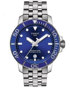 Tissot Mens T-Sport Seastar 1000 Powermatic 80 Blue Dial Bracelet Watch T120.407.11.041.00