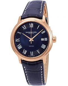 Raymond Weil Mens Maestro Blue Leather Strap Watch 2237-PC5-00508