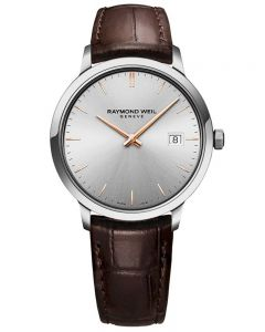 Raymond Weil Mens Toccata Classic Silver Dial Brown Leather Strap Watch 5485-SL5-65001