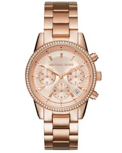 Michael Kors Ladies Ritz Rose Chronograph Dial Rose Gold Plated Bracelet Watch MK6357
