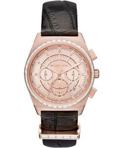 Michael Kors Ladies Vail Rose Gold Tone Chronograph Black Strap Watch MKT5055