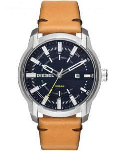 Diesel Mens Armbar Blue Dial Brown Leather Strap Watch DZ1847