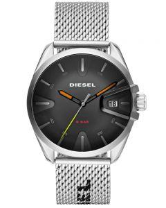 Diesel Mens Ms9 Stainless Steel Black Date Dial Mesh Strap Watch DZ1897