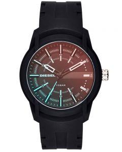 Diesel Mens Armbar Black Iridescent Dial Black Rubber Strap Watch DZ1819