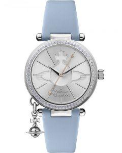 Vivienne Westwood Ladies Orb Pastelle Silver Dial Pale Blue Leather Strap Watch VV006BLBL