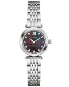 Bulova Ladies Black Mother Of Pearl Dial Stainless Steel Bracelet Watch 96S169