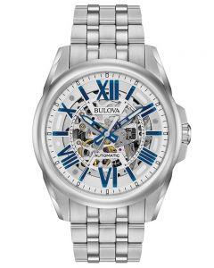 Bulova Mens Sutton Stainless Steel Automatic Skeleton Dial Bracelet Watch 96A187