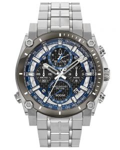 Bulova Mens Precisionist Stainless Steel Black and Blue Chronograph Dial Bracelet Watch 98B316