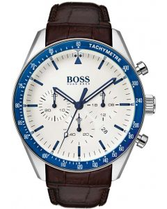 BOSS Mens Trophy Chronograph Brown Leather Strap Watch 1513629