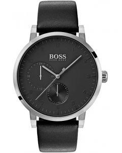 BOSS Mens Oxygen Black Leather Strap Watch 1513594