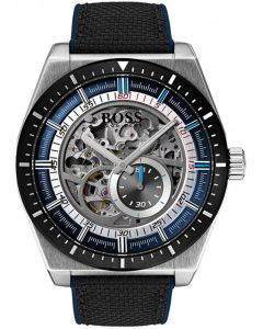 BOSS Mens Signature Automatic Skeleton Black Fabric Strap Watch 1513643