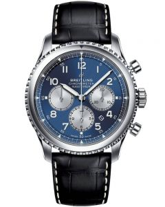 Breitling Mens Navitimer 8 B01 Chronograph 43 Leather Strap Watch AB0117131C1P1