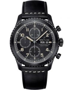 Breitling Mens Navitimer 8 Chronograph 43 Black Leather Strap Watch M13314101B1X1