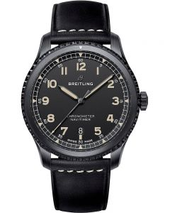 Breitling Mens Navitimer 8 Automatic 41 Black Steel Leather Strap Watch M17314101B1X1