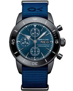 Breitling Mens Superocean Heritage II Chronograph 44 Outerknown Black Steel Blue Fabric Strap Watch M133132A1C1W1