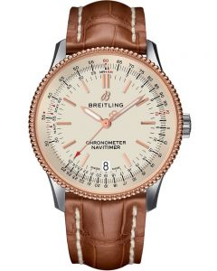 Breitling Mens Navitimer 1 Automatic 38 Brown Leather Strap Watch U17325211G1P1