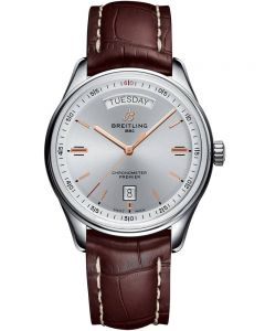 Breitling Mens Premier Automatic Day & Date 40 Brown Leather Strap Watch A45340211G1P1