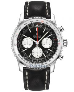 Breitling Mens Navitimer B01 Chronograph Black Leather Strap Watch AB0121211B1X1