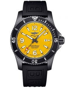 Breitling Mens Superocean Automatic 46 Black Steel Yellow Dial Rubber Strap Watch M17368D71I1S1