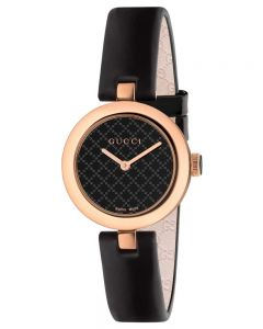Gucci Ladies Diamantissima Small Rose Gold Plated Black Dial Leather Strap Watch YA141501