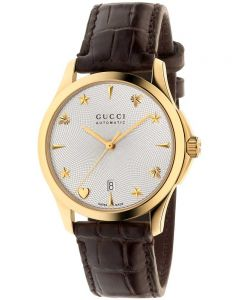 Gucci Ladies G-Timeless Automatic Silver Dial Dark Brown Leather Strap Watch YA126470