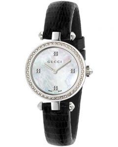 Gucci Ladies Diamantissima Diamond Dial Leather Strap Watch YA141507