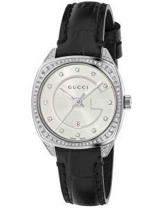 Gucci Ladies G-Frame Diamond Leather Strap Watch YA142507