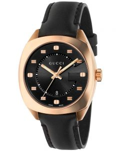 Gucci Ladies G-Frame 18ct Rose Gold Plated Leather Strap Watch YA142407