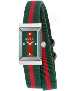Gucci Ladies G-Frame Rectangular Two Colour Fabric Strap Watch YA147503
