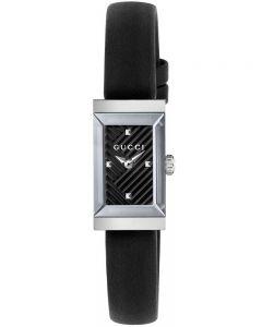 Gucci Ladies G-Frame Rectangular Black Leather Strap Watch YA147504