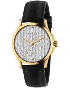 Gucci Ladies G-Timeless Gold Plated Black Leather Strap Watch YA1264027