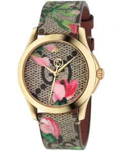 Gucci Ladies G-Timeless Gold Plated Pink Blooms Leather Strap Watch YA1264038