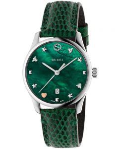 Gucci Ladies G-Timeless Small Green Leather Strap Watch YA126585