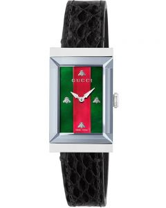 Gucci Ladies G-Frame Stainless Steel Rectangle Black Strap Watch YA147403