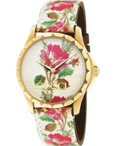 Gucci Ladies G-Timeless Gold Plated Pink Blooms Leather Strap Watch YA1264084