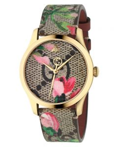Gucci Ladies G-Timeless Gold Plated Pink Blooms Leather Strap Watch YA1264038A