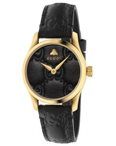 Gucci Ladies G-Timeless Small Gold Plated Black Leather Strap Watch YA126581A