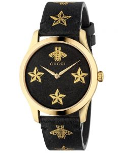 Gucci Ladies G-Timeless Gold Plated Star Motif Black Leather Strap Watch YA1264055A