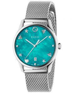 Gucci Ladies G-Timeless Stainless Steel Slim House Motifs Mesh Strap Watch YA1264039