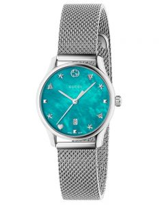 Gucci Ladies G-Timeless Stainless Steel House Motifs Blue Dial Mesh Strap Watch YA126582