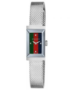 Gucci Ladies G Frame Stainless Steel Rectangle Dial Mesh Strap Watch YA147510