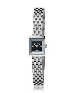 Gucci Ladies G-Frame Square Black Diamond Set Dial Stainless Steel Bracelet Watch YA128507